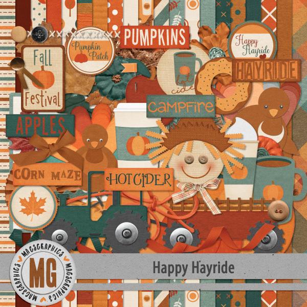 Happy Hayride Kit Digital Art - Digital Scrapbooking Kits