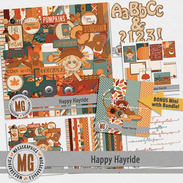 Happy Hayride Bundle & Bonus Digital Art - Digital Scrapbooking Kits