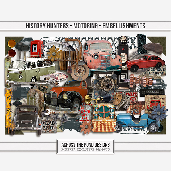 History Hunters - Motoring - Embellishments Digital Art - Digital Scrapbooking Kits