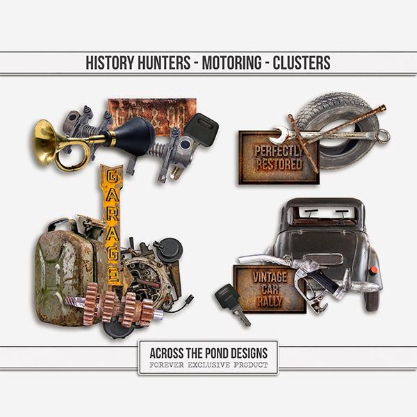 History Hunters - Motoring - Clusters Digital Art - Digital Scrapbooking Kits