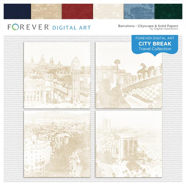 City Break - Barcelona - Cityscape & Solid Papers Digital Art - Digital Scrapbooking Kits