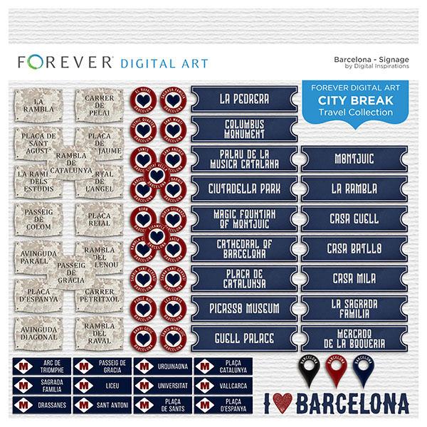 City Break - Barcelona - Signage Digital Art - Digital Scrapbooking Kits