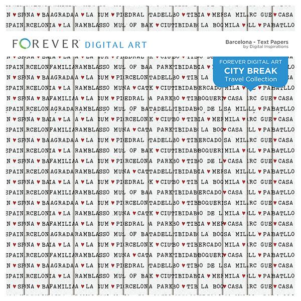 City Break - Barcelona - Text Papers Digital Art - Digital Scrapbooking Kits
