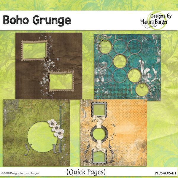 Boho Grunge Quick Page Set Digital Art - Digital Scrapbooking Kits
