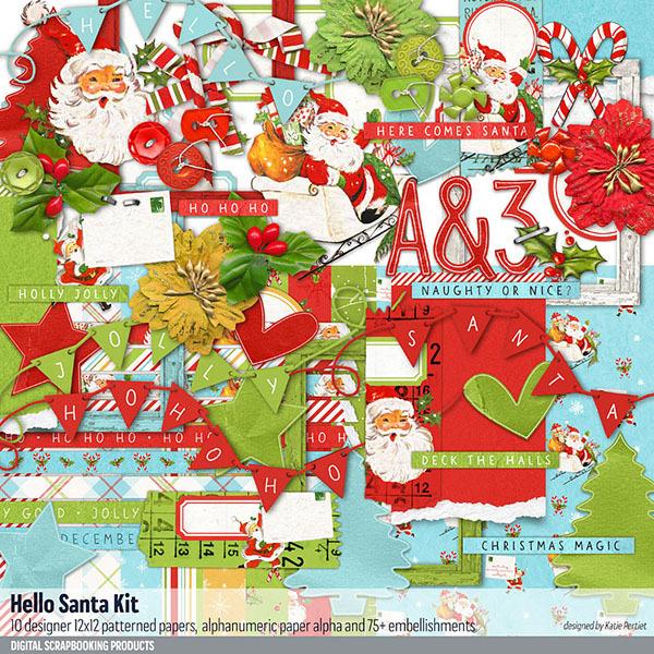 Hello Santa Christmas Scrapbook Kit Digital Art - Digital Scrapbooking Kits