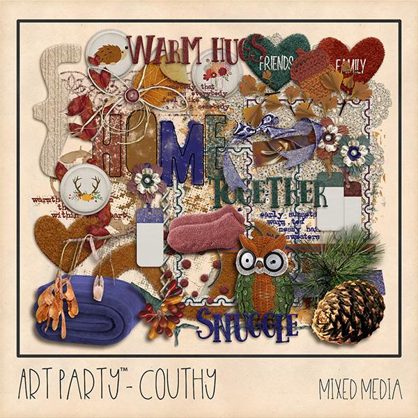 Couthy Mixed Media Embellishments Digital Art - Digital Scrapbooking Kits