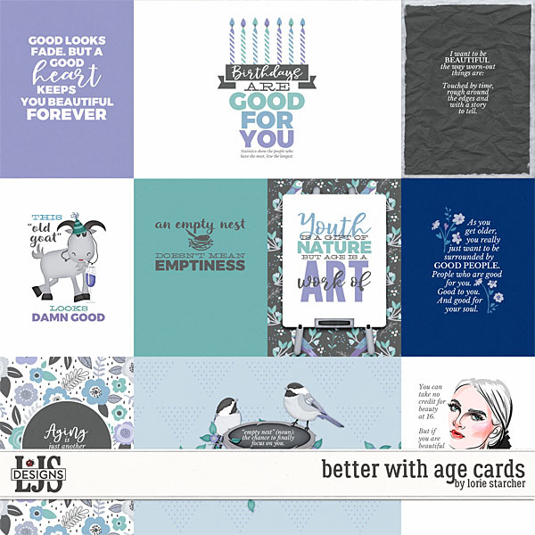 Better With Age Cards Digital Art - Digital Scrapbooking Kits