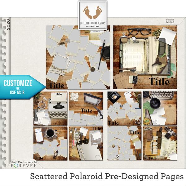 Scattered Polaroid Pre-Designed Pages Digital Art - Digital Scrapbooking Kits