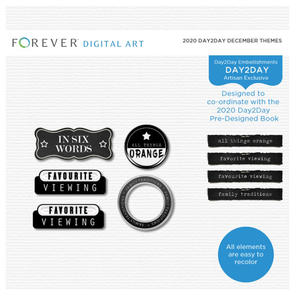 2020 Day2Day December Themes Digital Art - Digital Scrapbooking Kits