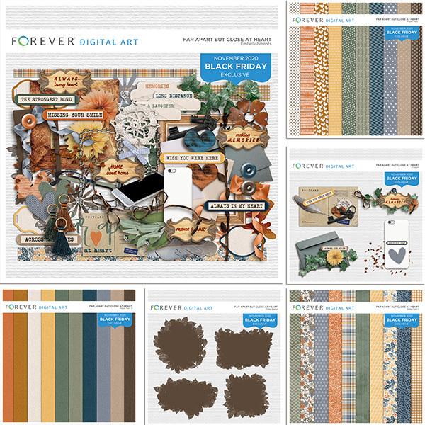 Far Apart But Close At Heart Bundle Digital Art - Digital Scrapbooking Kits