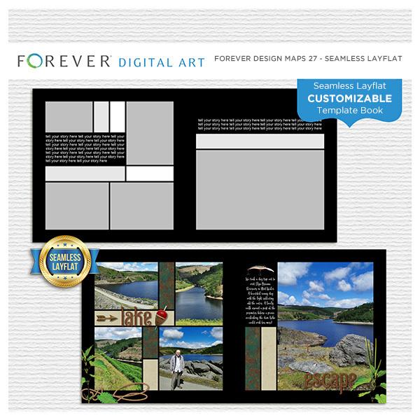 Forever Design Maps 27 - Seamless Layflat Digital Art - Digital Scrapbooking Kits