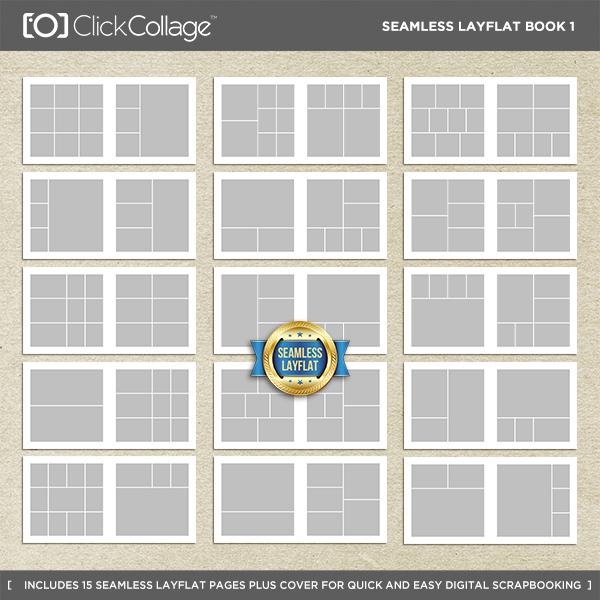Seamless Layflat Book 1 Digital Art - Digital Scrapbooking Kits