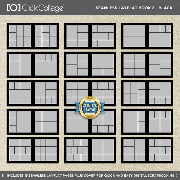 Seamless Layflat Book 2 - Black Digital Art - Digital Scrapbooking Kits