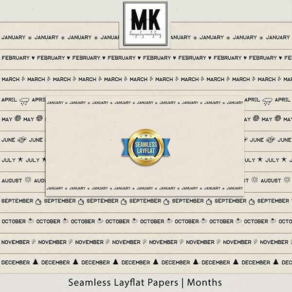 Seamless Layflat Papers - Months Digital Art - Digital Scrapbooking Kits