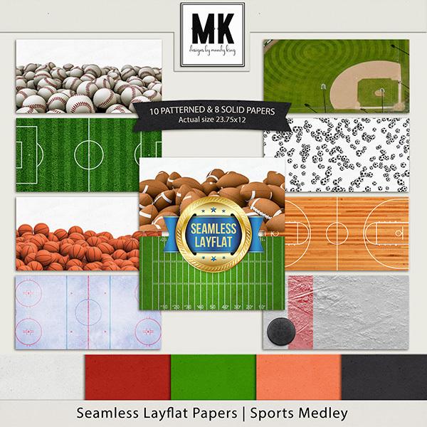 Seamless Layflat Papers - Sports Medley Digital Art - Digital Scrapbooking Kits