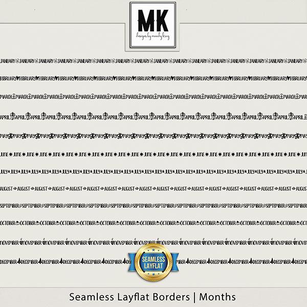 Seamless Layflat Borders - Months Digital Art - Digital Scrapbooking Kits