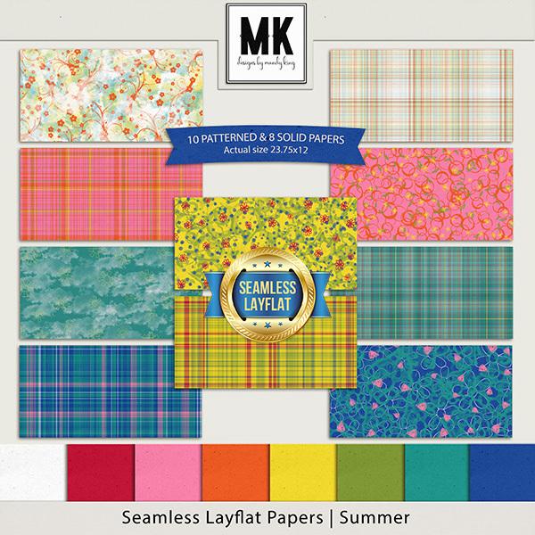 Seamless Layflat Papers - Summer Digital Art - Digital Scrapbooking Kits