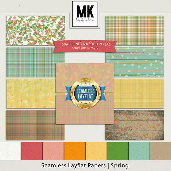 Seamless Layflat Papers - Spring Digital Art - Digital Scrapbooking Kits