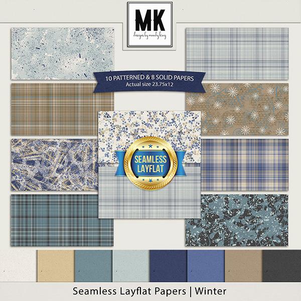 Seamless Layflat Papers - Winter Digital Art - Digital Scrapbooking Kits