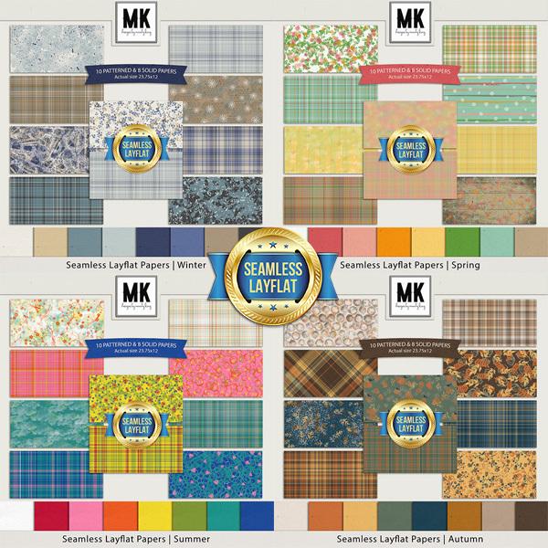 Seamless Layflat Papers - Seasons Bundle Digital Art - Digital Scrapbooking Kits