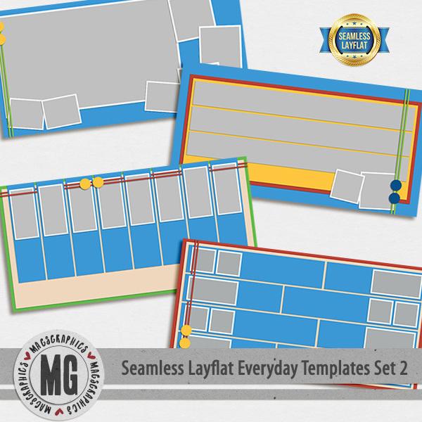 Seamless Layflat Everyday Templates Set 2 Digital Art - Digital Scrapbooking Kits