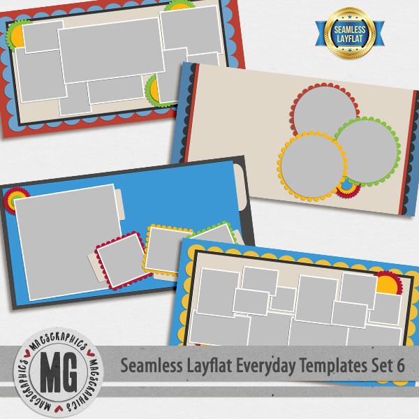 Seamless Layflat Everyday Templates Set 6 Digital Art - Digital Scrapbooking Kits