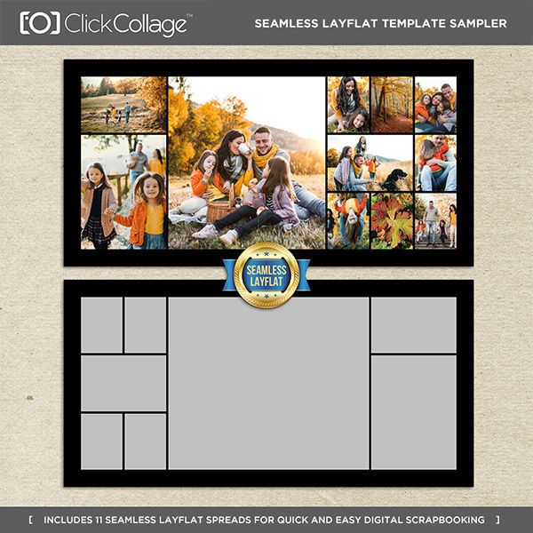 Seamless Layflat Template Sampler Digital Art - Digital Scrapbooking Kits