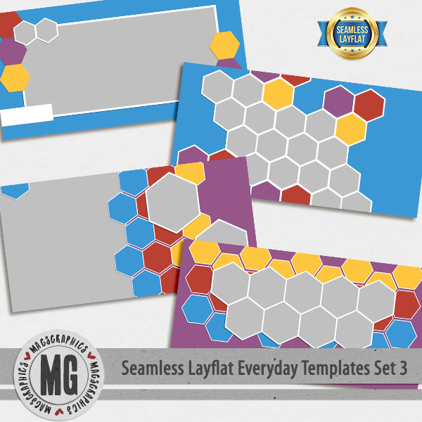 Seamless Layflat Everyday Templates Set 3 Digital Art - Digital Scrapbooking Kits