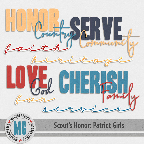 Patriot Girls Word Art Digital Art - Digital Scrapbooking Kits