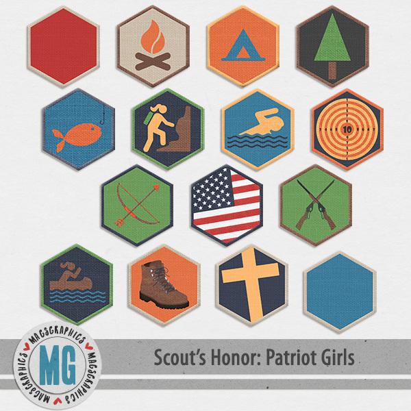 Patriot Girls Badges Digital Art - Digital Scrapbooking Kits