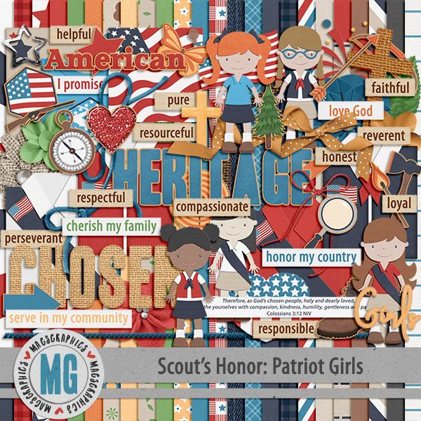 Patriot Girls Kit Digital Art - Digital Scrapbooking Kits