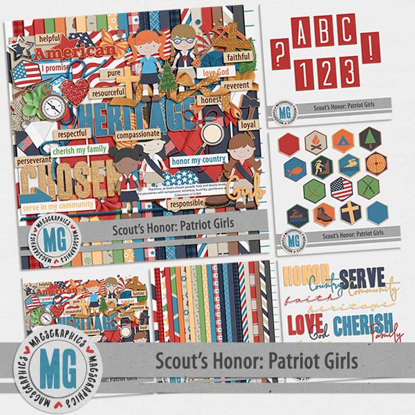 Patriot Girls Bundle Digital Art - Digital Scrapbooking Kits