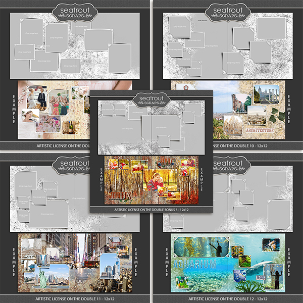 Artistic License - On the  Double Bonus Bundle 3 - 12x12 Digital Art - Digital Scrapbooking Kits
