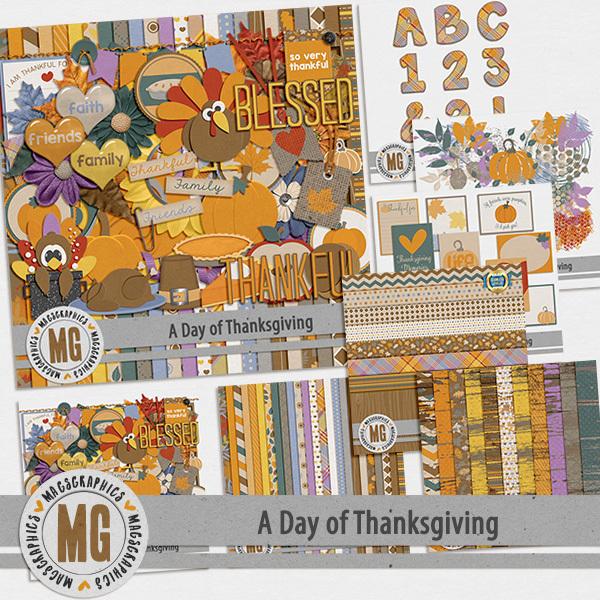 A Day of Thanksgiving Bundle Digital Art - Digital Scrapbooking Kits