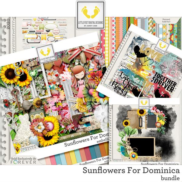 Sunflowers For Dominica Bundle Digital Art - Digital Scrapbooking Kits