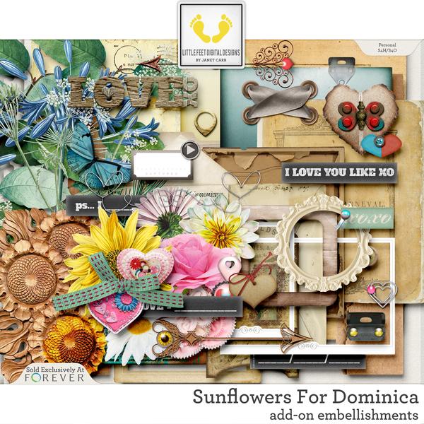 Sunflowers For Dominica Add-On Embellishments Digital Art - Digital Scrapbooking Kits