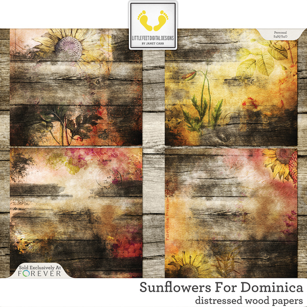 Sunflowers For Dominica Distressed Wood Papers Digital Art - Digital Scrapbooking Kits