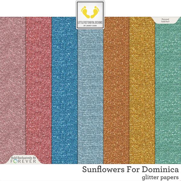 Sunflowers For Dominica Glitter Papers Digital Art - Digital Scrapbooking Kits