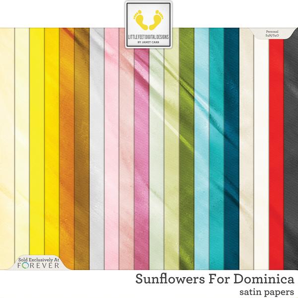 Sunflowers For Dominica Satin Papers Digital Art - Digital Scrapbooking Kits
