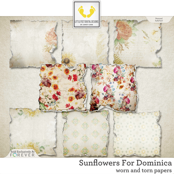 Sunflowers For Dominica Worn and Torn Papers Digital Art - Digital Scrapbooking Kits