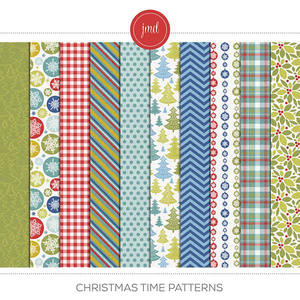 Christmas Time Patterns Digital Art - Digital Scrapbooking Kits