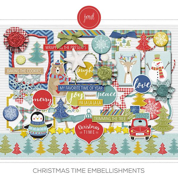 Christmas Time Embellishments Digital Art - Digital Scrapbooking Kits