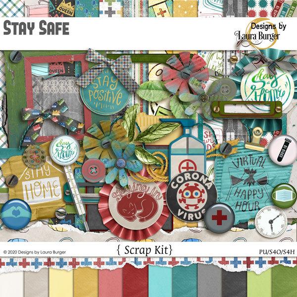 Stay Safe Scrap Kit Digital Art - Digital Scrapbooking Kits