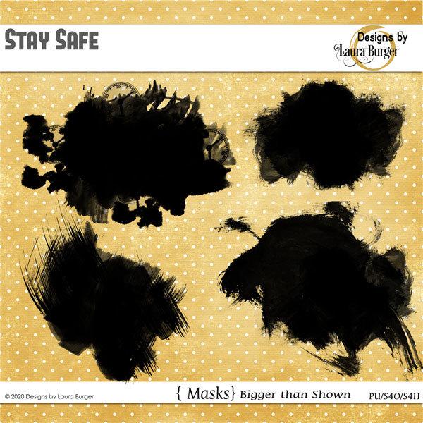 Stay Safe Masks Digital Art - Digital Scrapbooking Kits