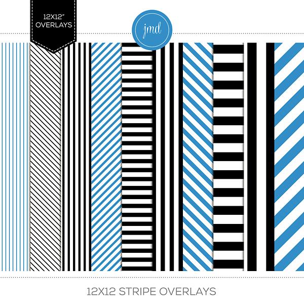 12x12 Stripe Overlays Digital Art - Digital Scrapbooking Kits