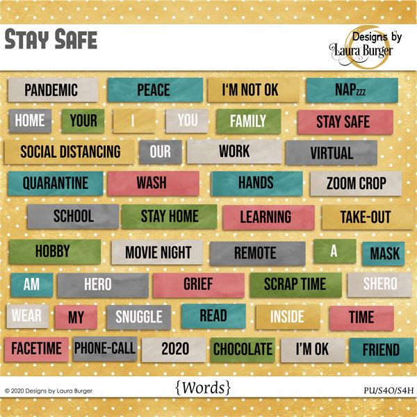 Stay Safe Words Digital Art - Digital Scrapbooking Kits