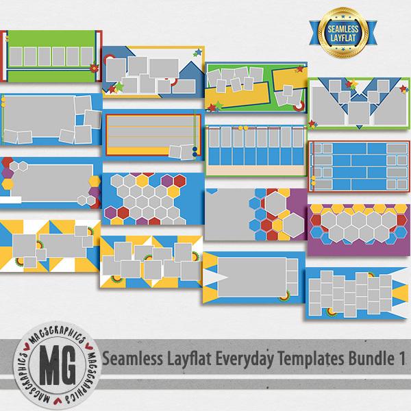 Seamless Layflat Everyday Templates Bundle 1 Digital Art - Digital Scrapbooking Kits