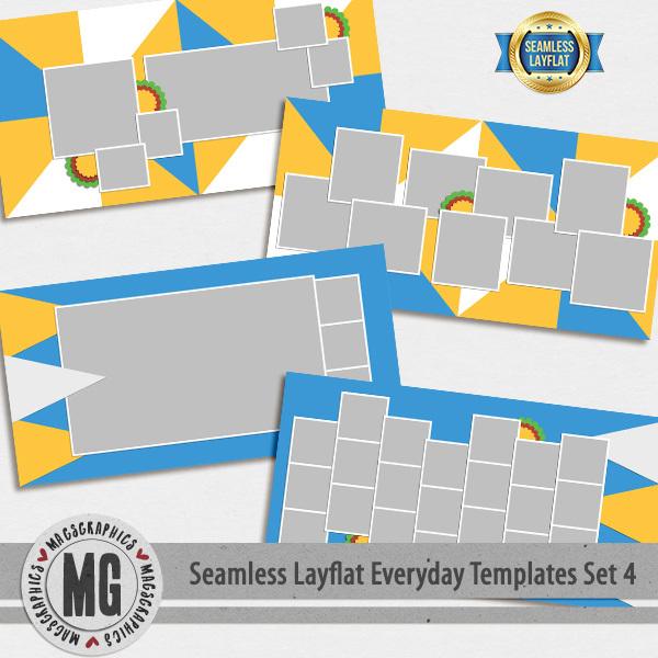 Seamless Layflat Everyday Templates Set 4 Digital Art - Digital Scrapbooking Kits