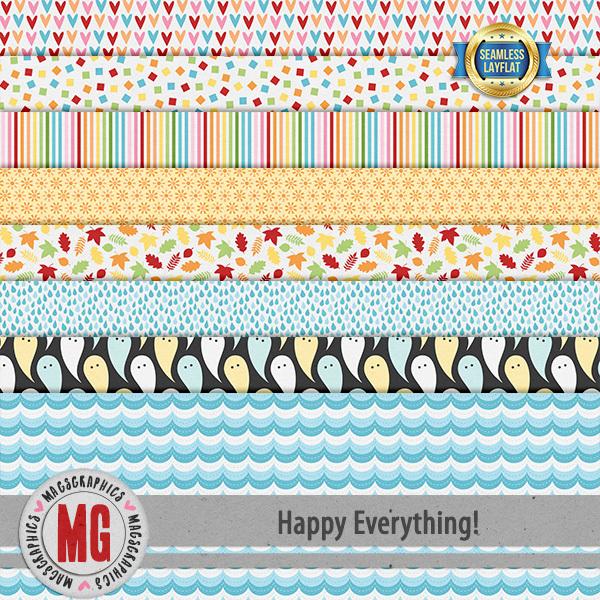 Happy Everything Seamless Layflat Papers Digital Art - Digital Scrapbooking Kits