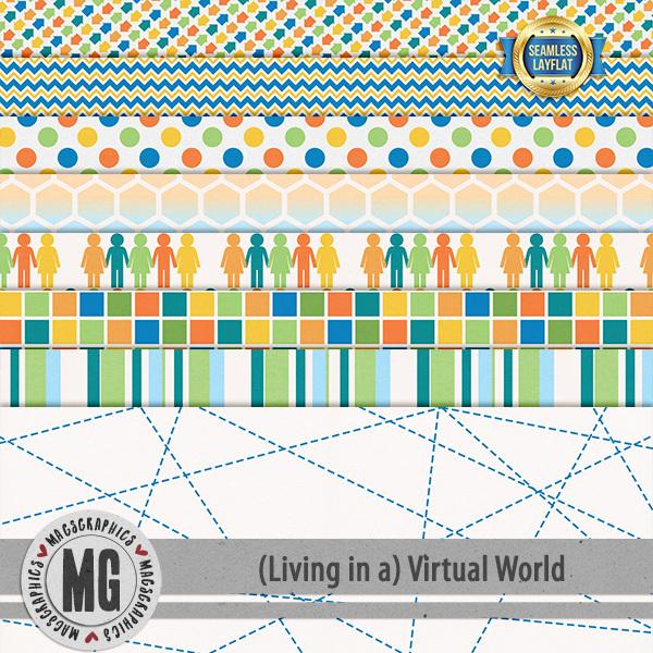 Virtual World Seamless Layflat Papers Digital Art - Digital Scrapbooking Kits